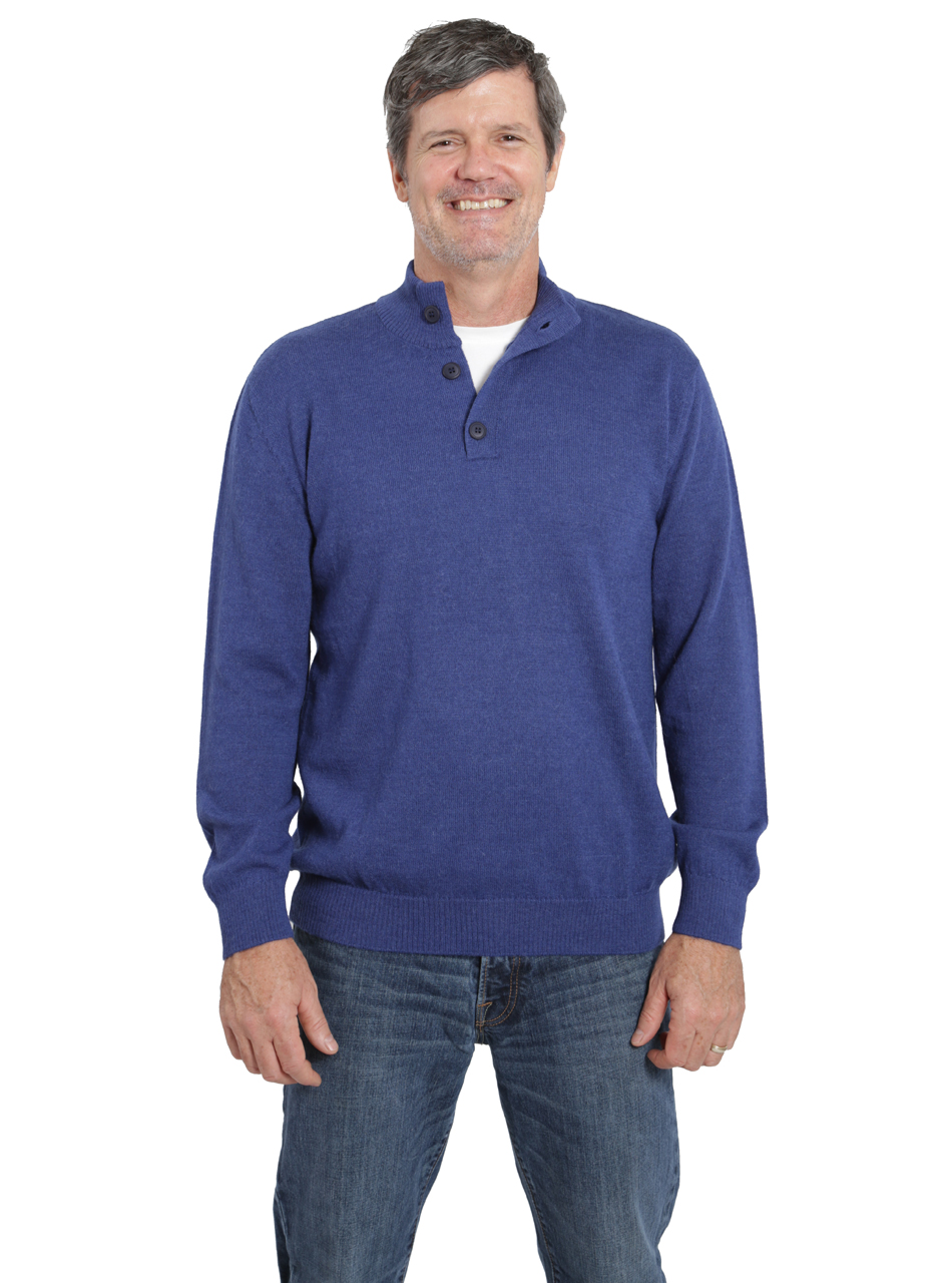 Hailey Alpaca 3-Button Pullover Men's Sweater  Front