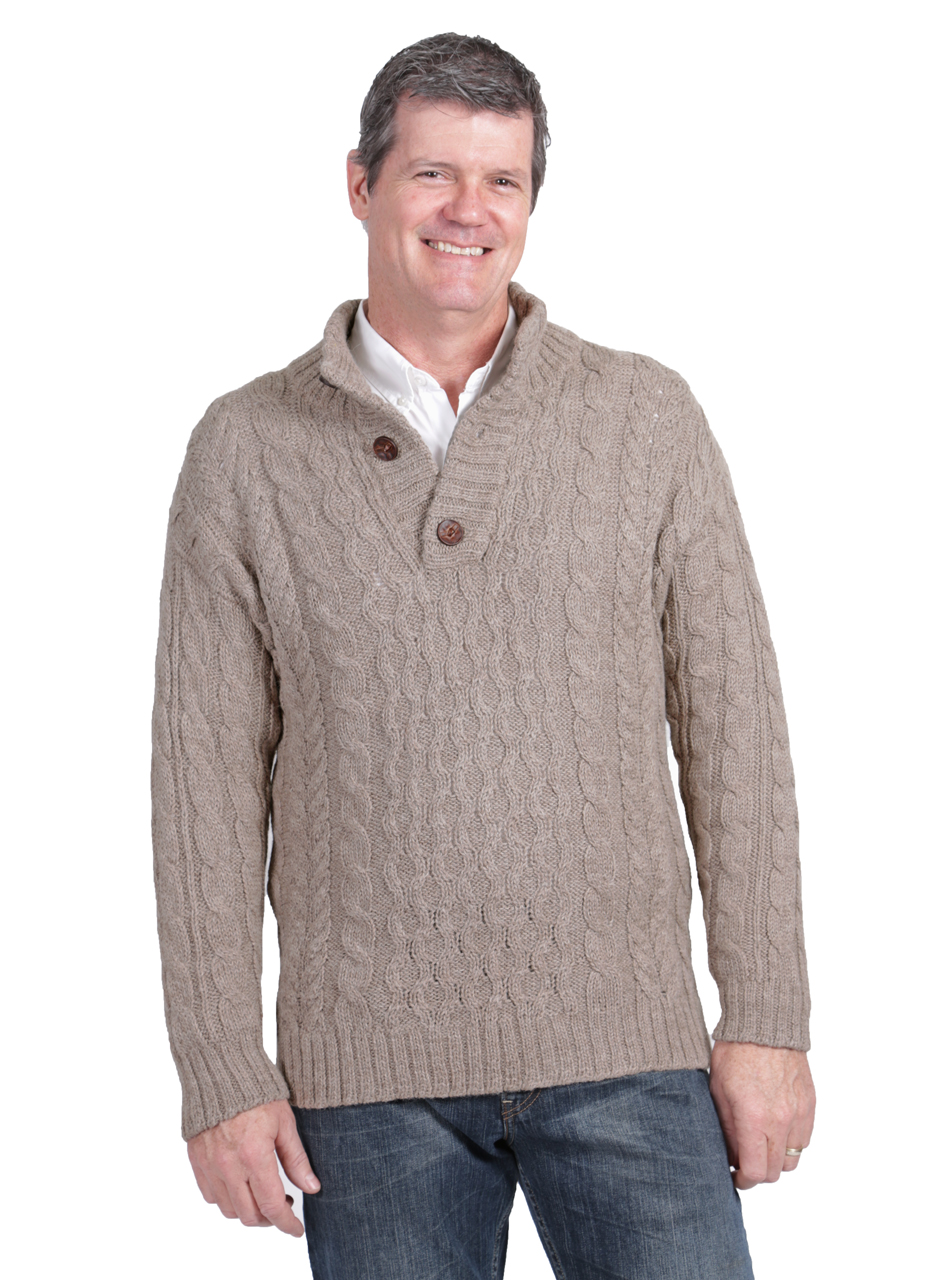 Men's Cable 3-Button Neck Alpaca Pullover Front