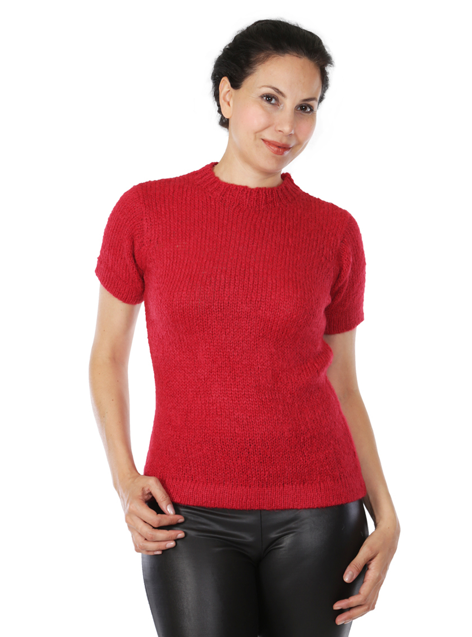 Blair Short Sleeve Suri Sweater Front on Model