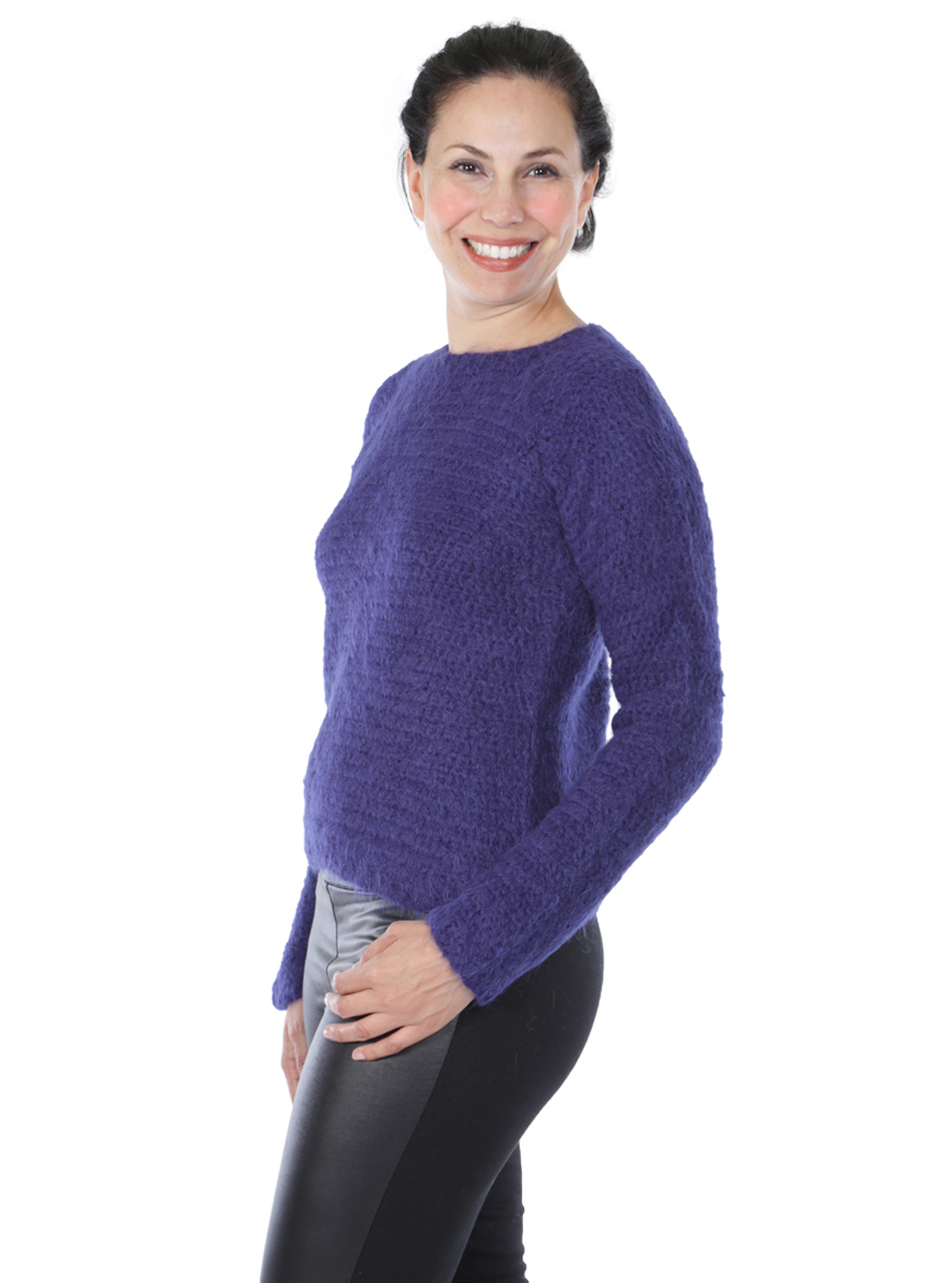 Daphne Crochet Pullover  Side-view on Model