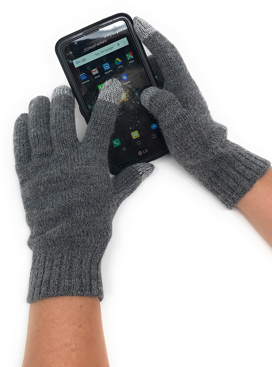 Solid Touch Screen Gloves - Unisex - Alpaca & Acrylic