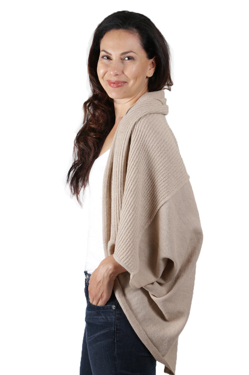 A) 2 Way Cardigan Collar Up Upside Down Side view