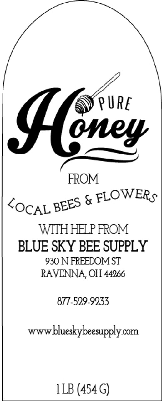 clear muth jar labels blue sky bee supply
