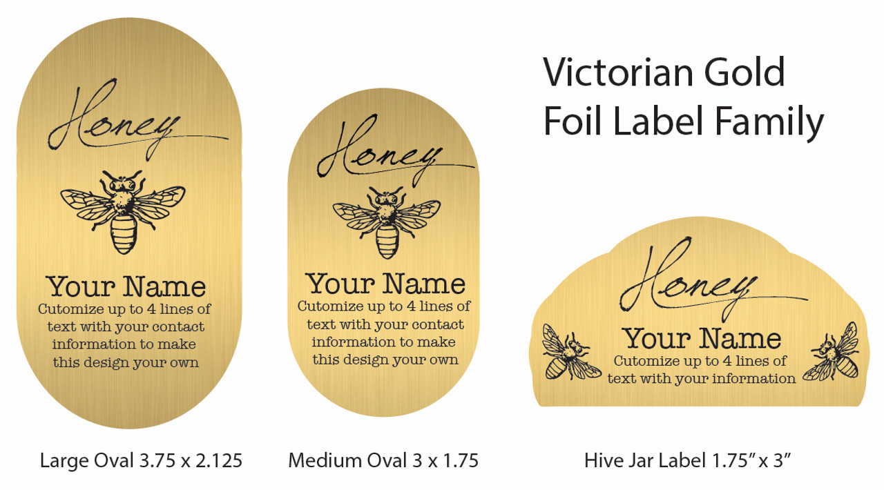 Perfect Gold Foil Labels - blueskybeesupply.com ZA44