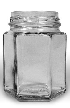 6 fluid oz. (190 ml) Glass Hex (12/case w/58mm LUG lids) [HEX06]