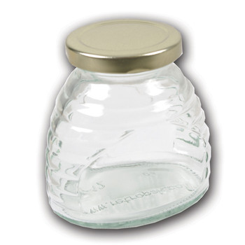 12 oz. wt. Glass Skep (hive) Jars (12 count case w/58mmLUG Gold Metal Lids) [SK-8]