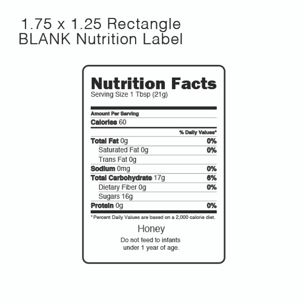Nutrition Labels For Honey (roll Of 500)