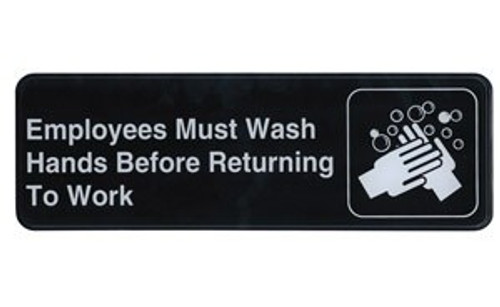 """Winco - SGN-322 - 3""""X9"""" Employee Must Wash Hands Sign 1 UNIT/Each"""