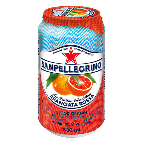 San Pellegrino Sparkling Beverage Aranciata Rossa (Blood Orange), 330 mL