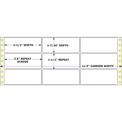 "3-1/2"" x 1-7/16"", 3 Across, Fanfold Labels for Pin Fed, Tractor Fed and Continuous Form (Feed) Printers"