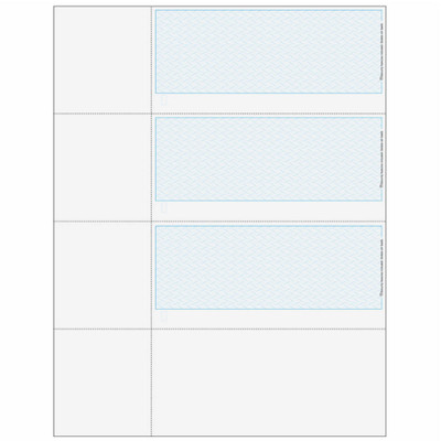 "Checks, 3 per Sheet, 3 Perforations: 2 ¾"", 5 ½"" and 8 ¼"" From Top of Check, Blue, 5 Security Features"