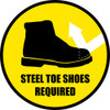 PPE Steel Toe Shoes Required Sign