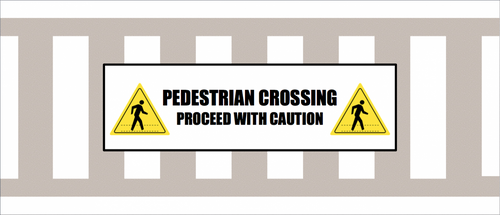 Pedestrian Crossing Crosswalk Floor Sign