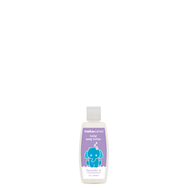 A soothing body lotion of natural ingredients that leaves baby's skin feeling soft and smooth. Created with high quality ingredients such as coconut oil to moisturize and chamomile extract to nourish and relax. Caution: This lotion is known to make little ones uncontrollably huggable. DIRECTIONS: Apply generously and massage gently onto baby's skin.