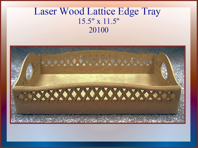 "Wood - LW Lattice Edge Tray15.5"" x 11.5 x 2.0"" (20100)"