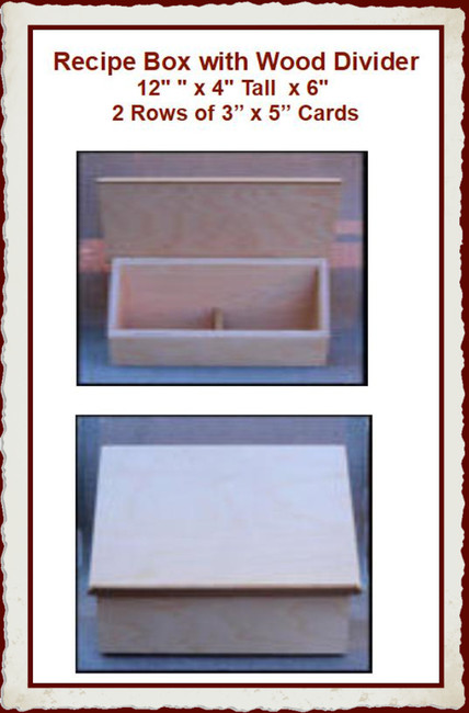 "Wood - Box, Recipe with Dividers 12"" x 9"" x 4"" (1923006)"