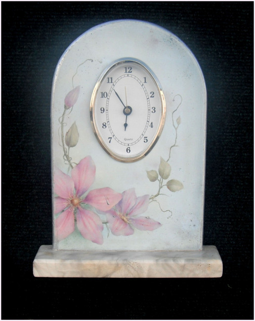 Wood - Clock Unpainted , Clematis  wth Round Face Clock Insert (1203444)