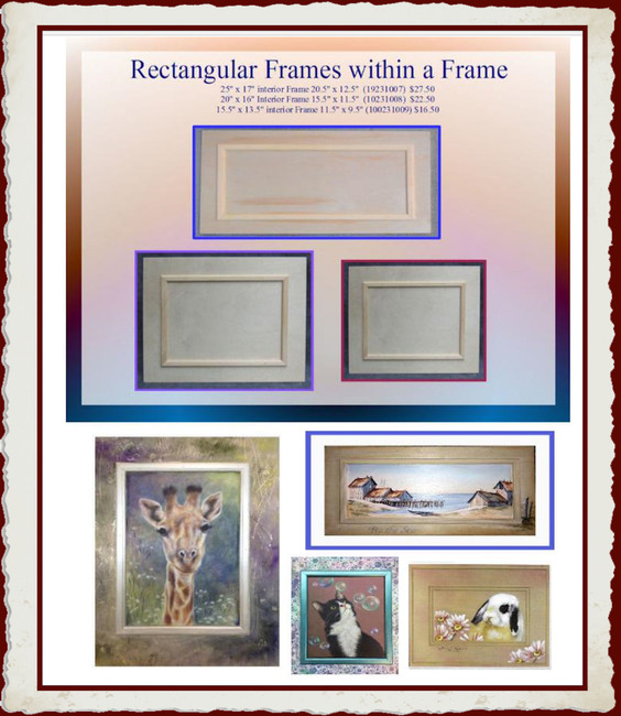 Wood - Rectangular Wood Frames with Interior Frame (19231007F, 19231008F, 19231009F,1923072915)