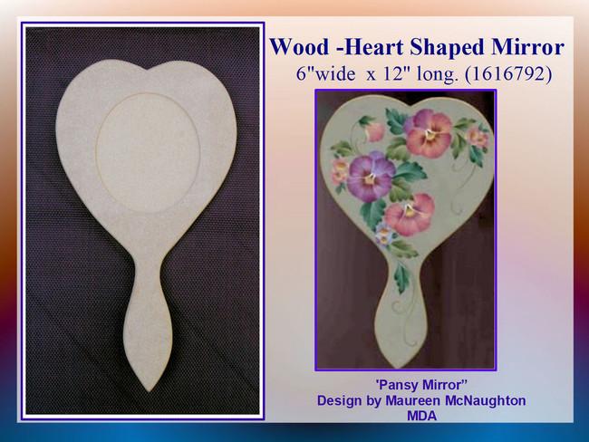"Wood - Mirror, Heart Shaped Hand Mirror  11"" x 7"" (161662)"