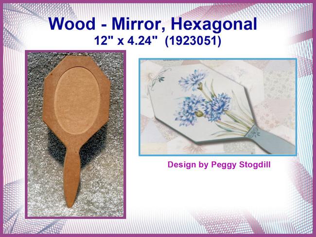 "Wood - Mirror, Hexagonal  12"" x 4.24""  (1923051)"