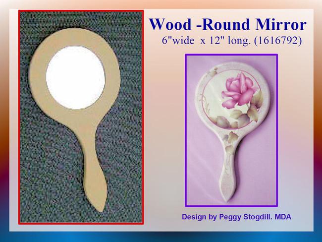 "Wood - Mirror, Round 6""w. x 12"" long (1616792)"