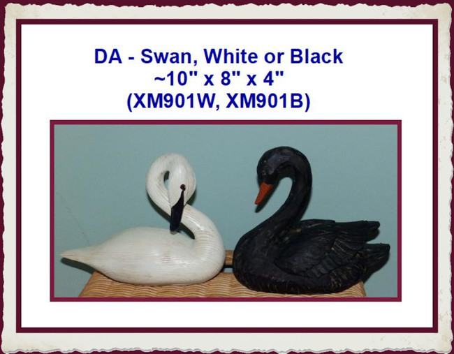 "DA - Swan, White or Black ~10"" x 8"" x 4"" (XM901W, XM901B)"