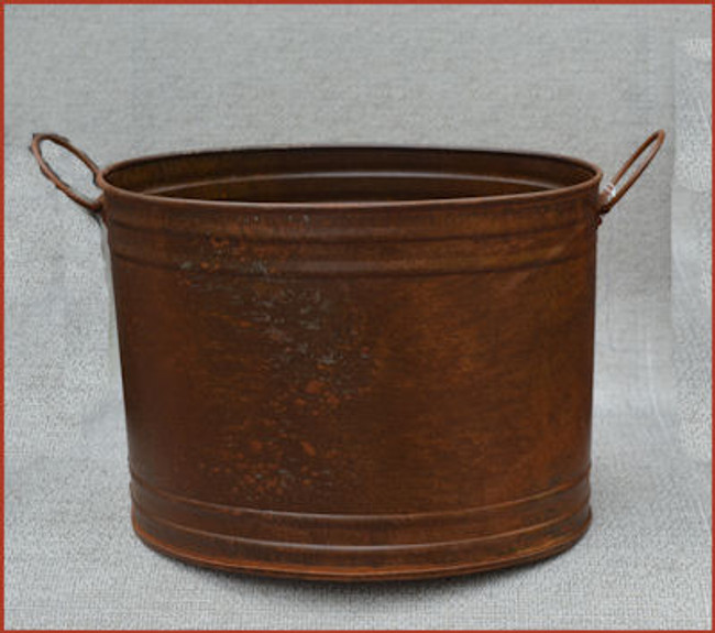 Rusty Metal Double Edged oval Container