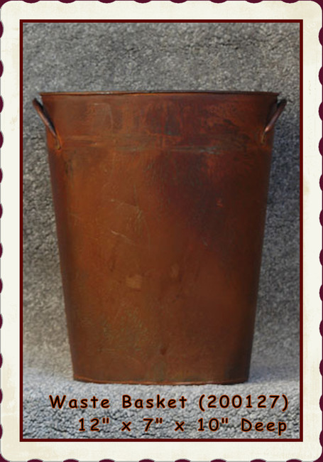 "Basket - Metal Wastebasket 12"" x 7"" x 10"" Deep (200127) BACK IN STOCK"