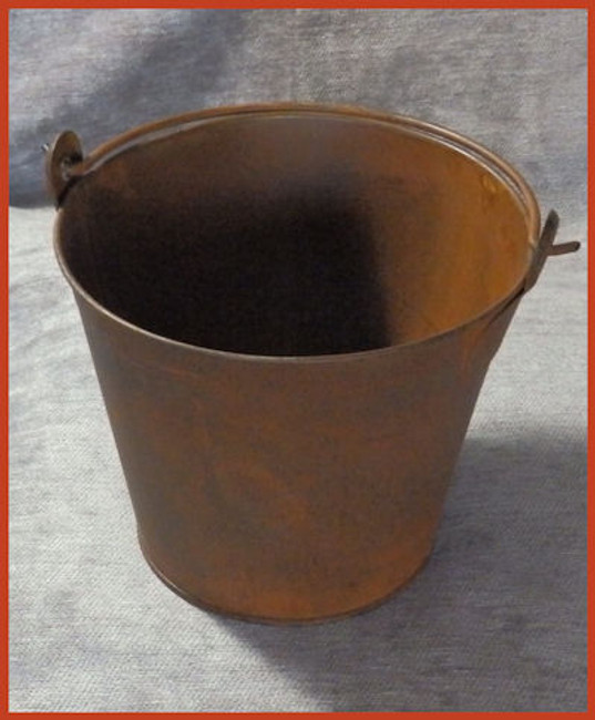 Rusty Metal Pail with Metal Handle - 2 Sizes