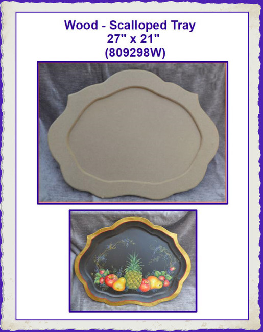 "Wood - Scalloped Tray 27"" x 21"" (809298W)"