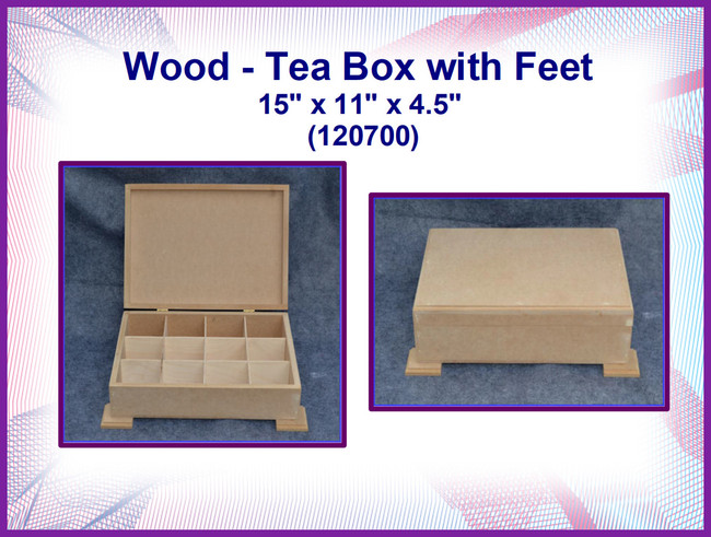 "Wood - MDF Tea Box with Feet 15"" x 11"" x 4.5""  (120700)"
