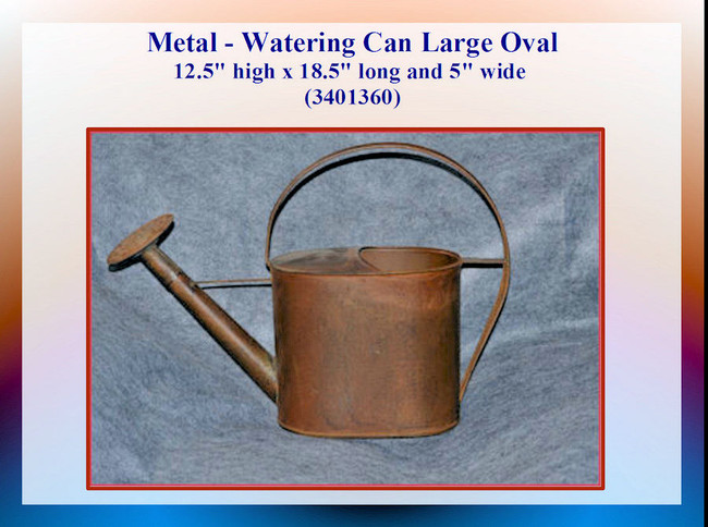 "Metal - Watering Can Large Oval 12.5"" hig x 18.5"" long and 5"" wide (3401360)"