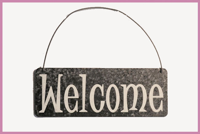 "DA - Welcome Sign 4"" x 1.5"" (JHX8394-B)"