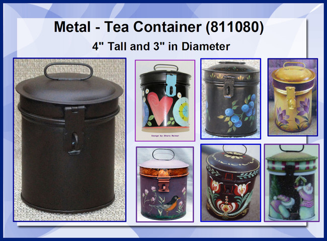 "Metal - Tea Container ~4"" x 3"" Diameter (811080)"