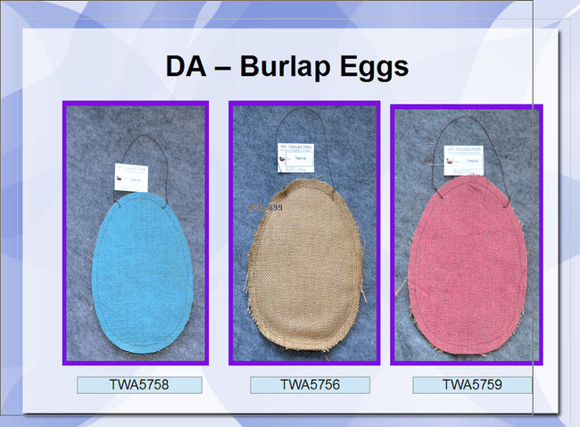 Egg Shaped Burlap Hangers - Buy Individually or as a package of 3