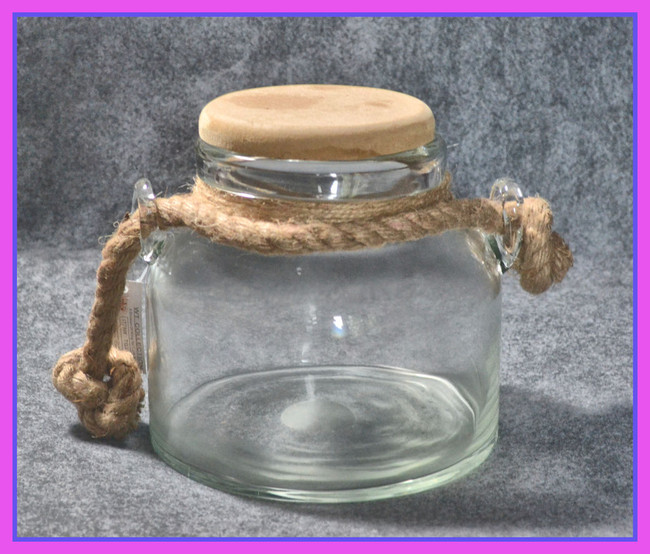 "Glass Storage Jar with 4"" wooden Lid"
