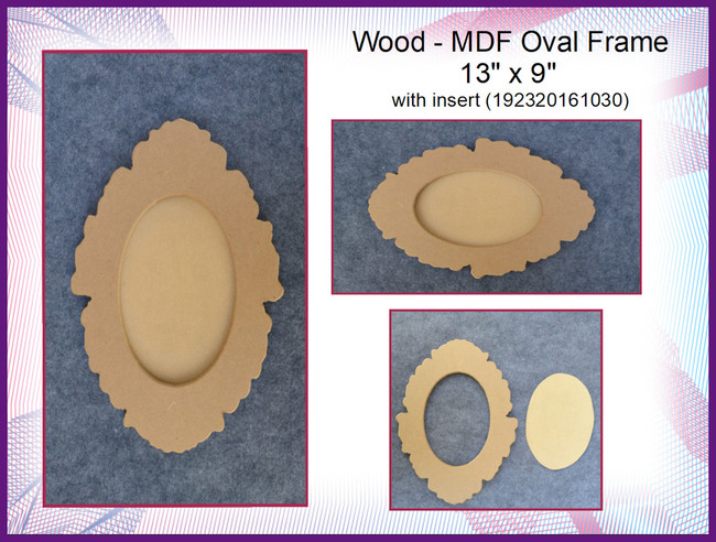 "Wood -  MDF Oval Frame  13"" x 9"" with insert (192320161030)"