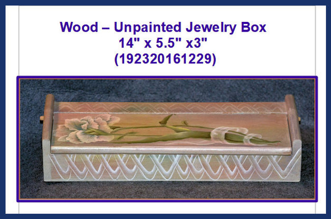 "Wood - Jewelry Box 14"" x 5.5"" x3"" (192320161229)"
