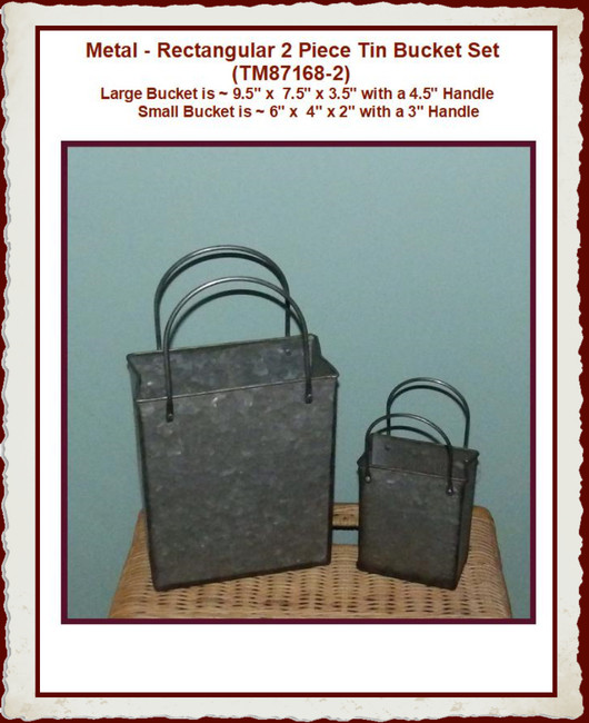 Metal, Bucket rectangular Set of 2 (TM87168-2)