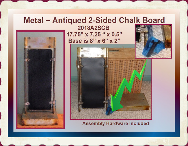 "Metal - 2-Sided Antiqued Chalkboard ~ 19"" x 7"" x 6"" (2018A2SCB)"