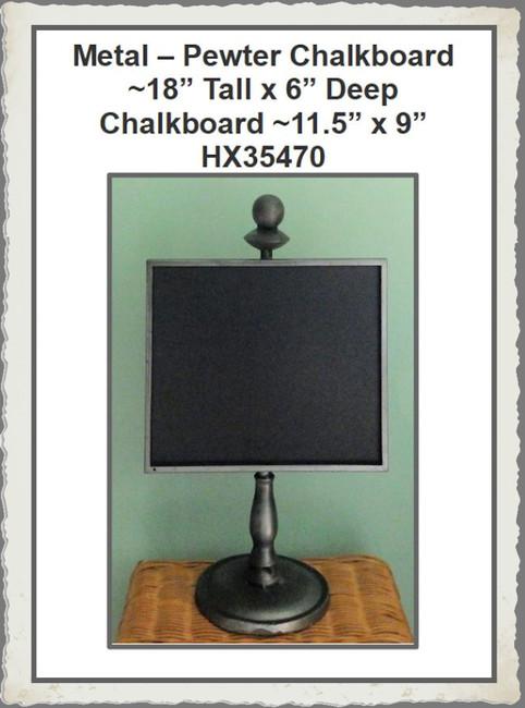 """Metal - Pewter Chalkboard Stand ~18"""" x 11.5"""" x 6"""" (HX35470)"""