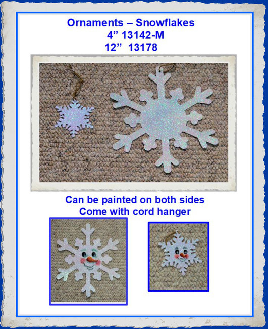 "Ornament -12"" and 4""  Coated Metal Snowflakes (131XX)"