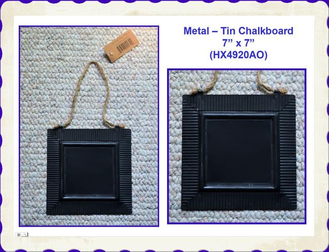 "Metal - Tine Black Square Chalkboard 7"" x 7"" (HX4920AO)"