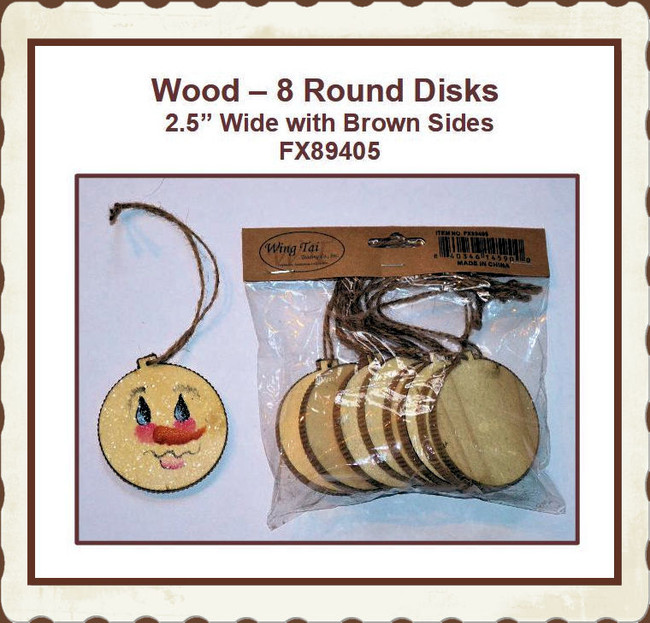 "DA - 8 Round Wood  2.5"" Disks with Brown Beveled Edge (FX89405)"