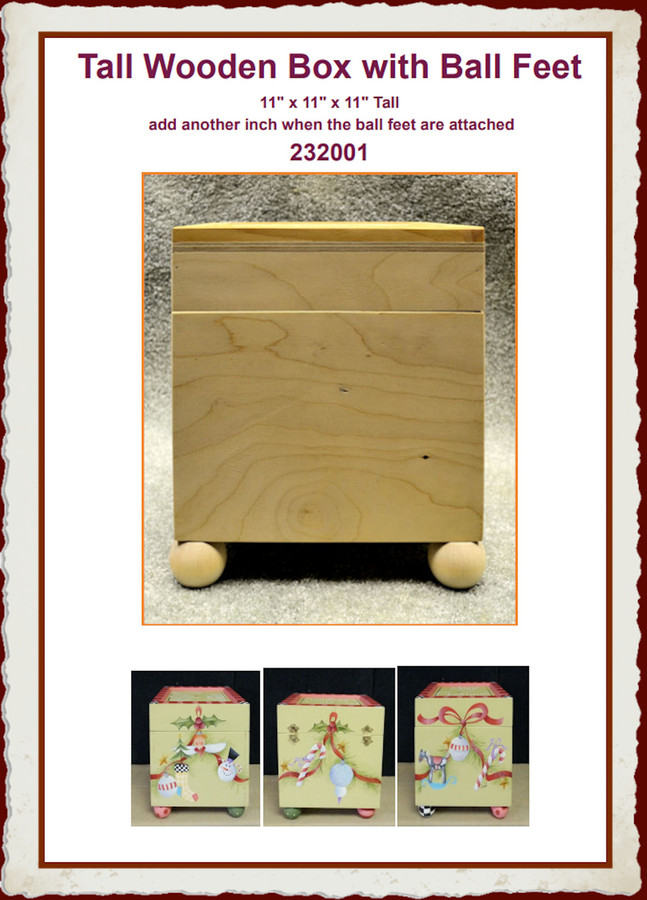 Wood - Box, Tall with Ball Feet (232001)