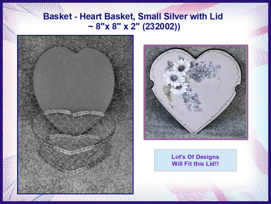 """Basket - Heart Basket, Small Silver with Lid ~ 8""""x 8"""" x 2"""" (232002)"""