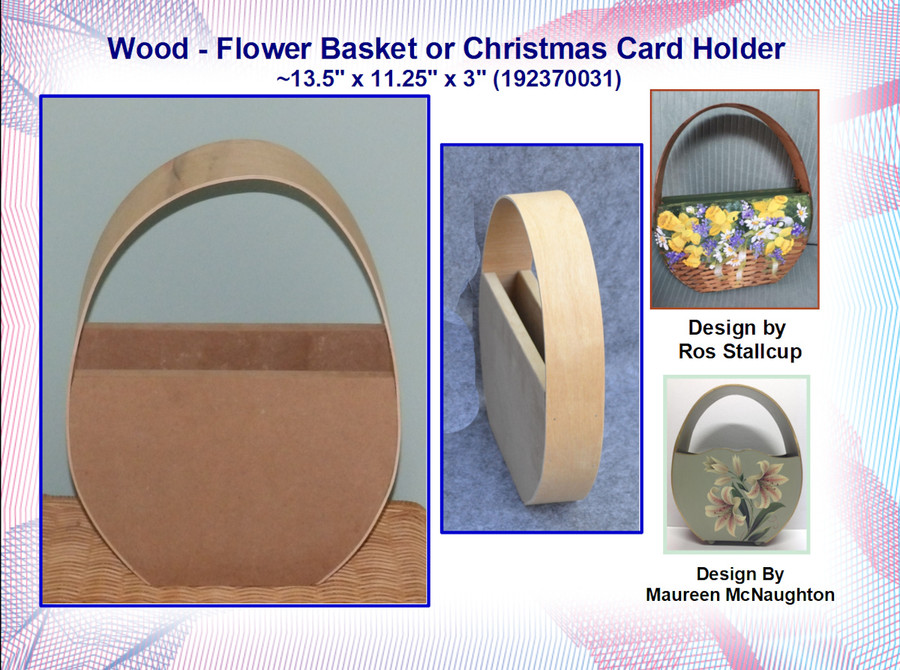 "Wood - Flower Basket or Christmas Card Holder ~13.5"" x 11.25"" x 3"" (192370031)"