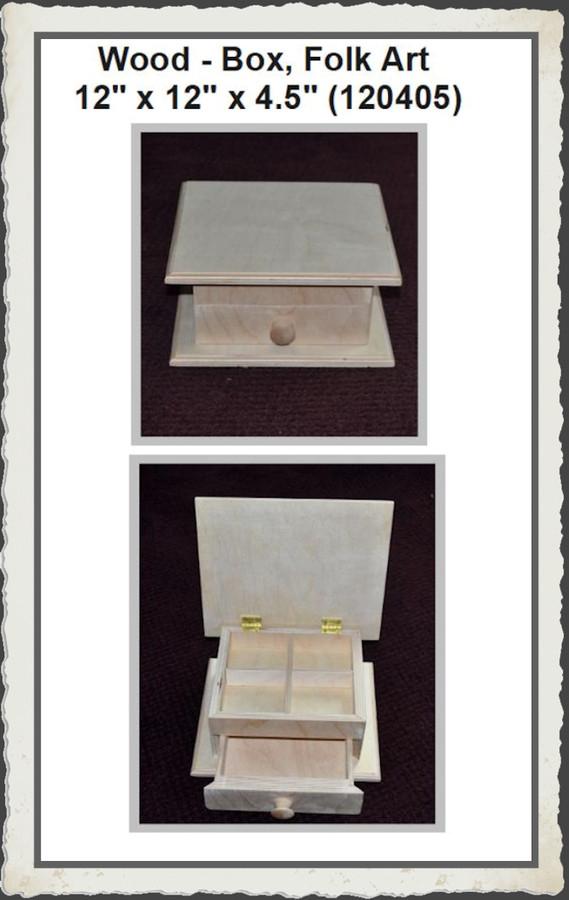 """Wood - Box, Folk Art 12"""" x 12"""" x 4.5"""" (120405)"""