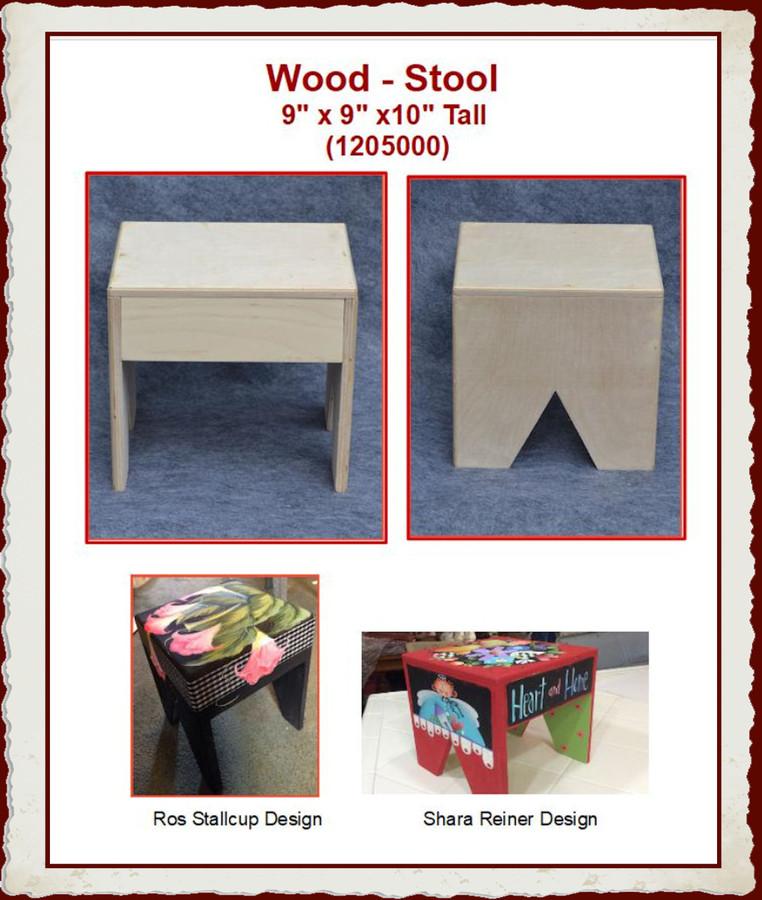 """Wood - Stool  9"""" x 9"""" x 10"""" Tall  (1205000)"""