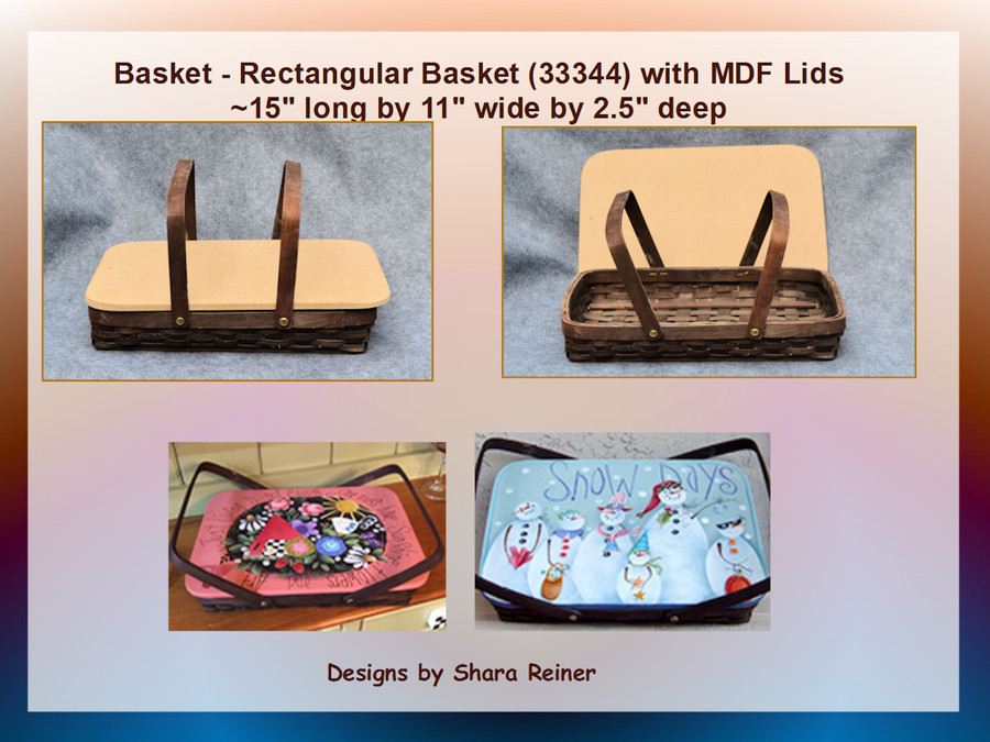 Basket - Rectangular   Basket  with MDF Lids (34974)